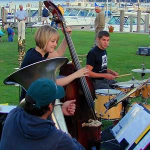 Ethan (drums), Ashley (bass), and Dan (tuba).